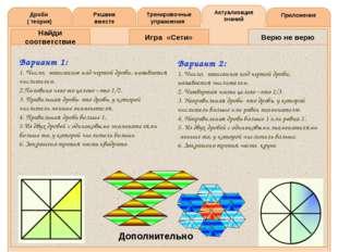 Решаем вместе Тренировочные упражнения Актуализация знаний Приложение Дроби (