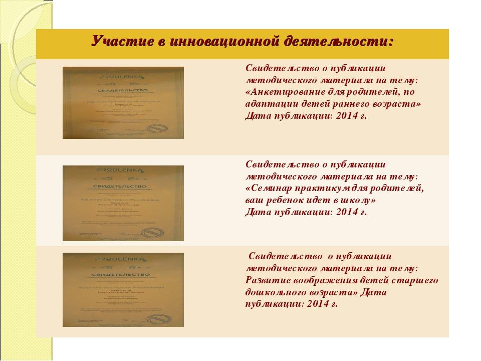 Участие в инновационной деятельности: Свидетельство о публикации методическ...