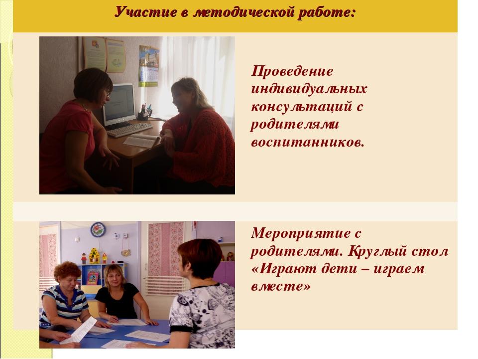 Участие в методической работе:  Проведение индивидуальных консультаций с ро...