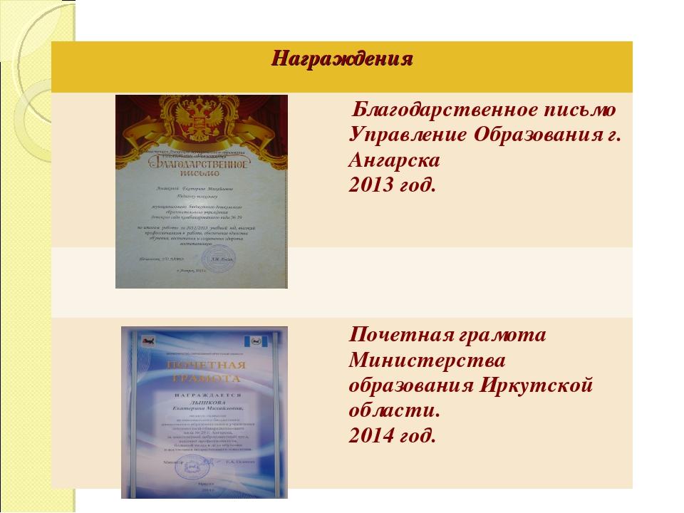 Награждения  Благодарственное письмо Управление Образования г. Ангарска 201...