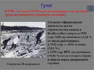 Сооружение Беломорканала Согласно официальным данным во время строительства к