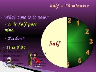 - What time is it now? - It is half past nine. - Pardon? - It is 9.30 half ha