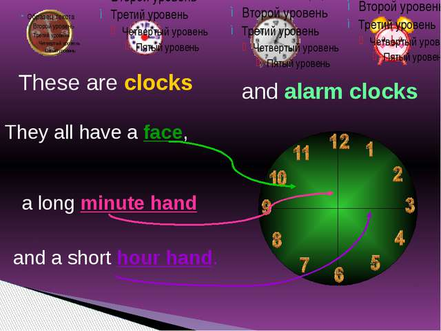 These are clocks They all have a face, a long minute hand and a short hour ha...