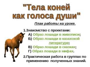 План работы на уроке. 1.Знакомство с проектами: А) Образ лошади в живописи; Б