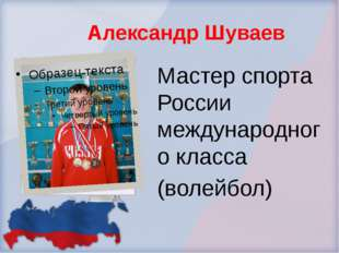 Александр Шуваев Мастер спорта России международного класса (волейбол)