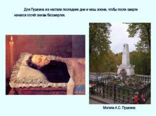 Для Пушкина же настали последние дни и часы жизни, чтобы после смерти нача