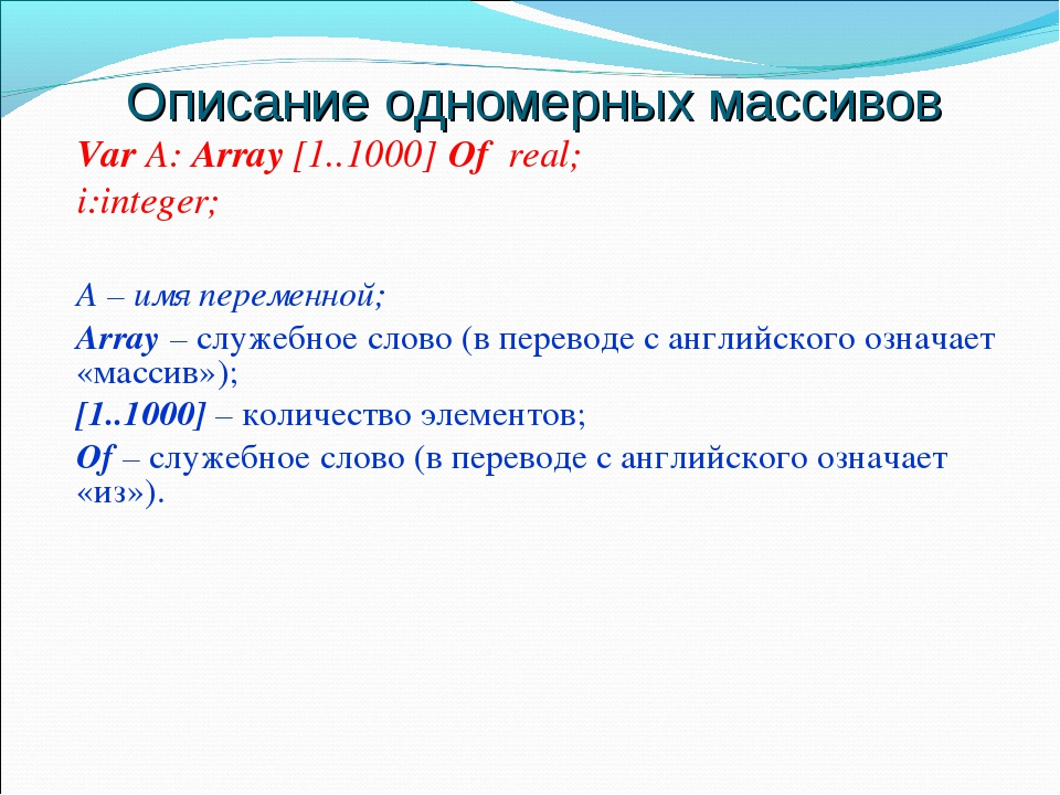 Описание одномерных массивов Var А: Array [1..1000] Of real; i:integer; А – и...