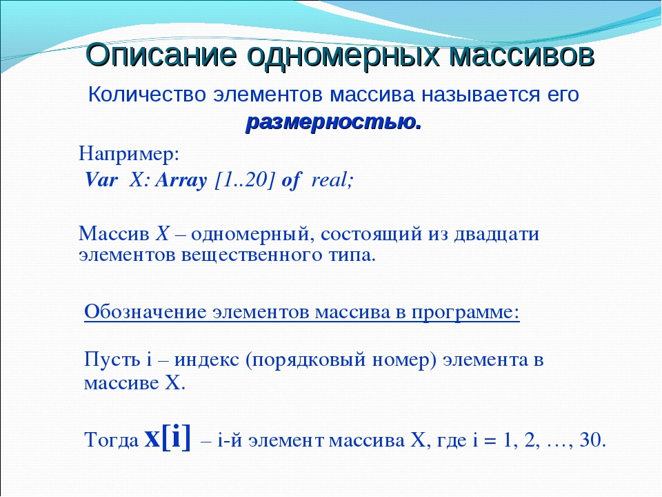 Описание одномерных массивов Например: Var X: Array [1..20] of real; Массив Х...