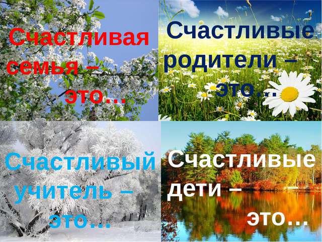 Счастливая семья – это… Счастливые дети – это… Счастливый учитель – это… Счас...