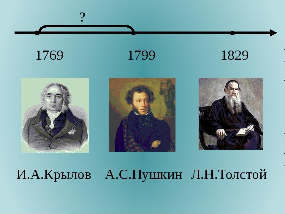 1769 1799 1829 И.А.Крылов А.С.Пушкин Л.Н.Толстой ?