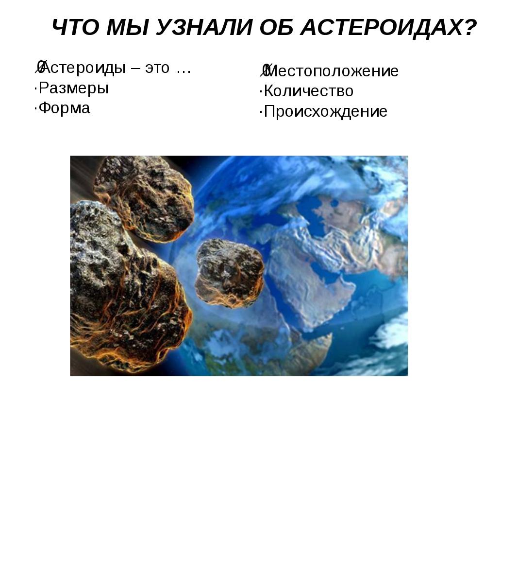 ЧТО МЫ УЗНАЛИ ОБ АСТЕРОИДАХ? ·Астероиды – это … ·Размеры ·Форма ·Местоположен...