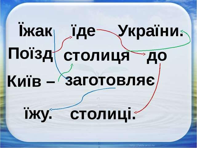 столиці. Поїзд Київ – їде столиця заготовляє України. до їжу. Їжак
