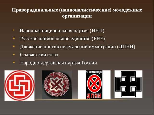 Праворадикальные (националистические) молодежные организации Народная национа...