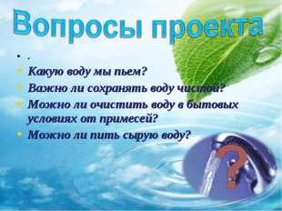 . Какую воду мы пьем? Важно ли сохранять воду чистой? Можно ли очистить воду
