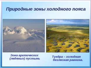 Природные зоны холодного пояса Тундра – холодная безлесная равнина. Зона аркт