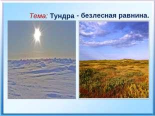 Тема: Тундра - безлесная равнина.