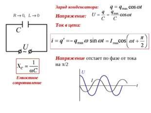 Заряд конденсатора: Напряжение: Ток в цепи: Напряжение отстает по фазе от ток