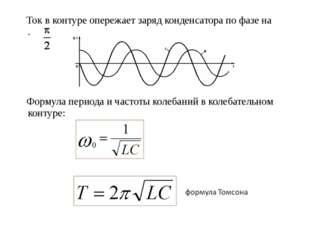 Ток в контуре опережает заряд конденсатора по фазе на  . Формула периода и