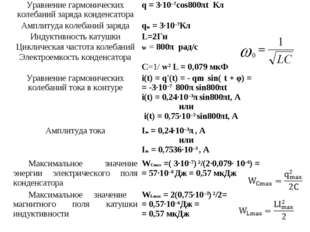Уравнение гармонических колебаний заряда конденсатораq = 3·10–7cos800πt Кл А
