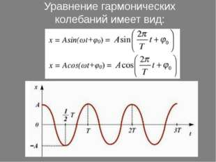Уравнение гармонических колебанийимеет вид:
