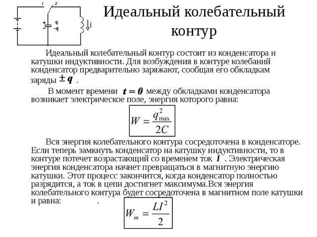 Идеальный колебательный контур Идеальный колебательный контур состоит из конд...