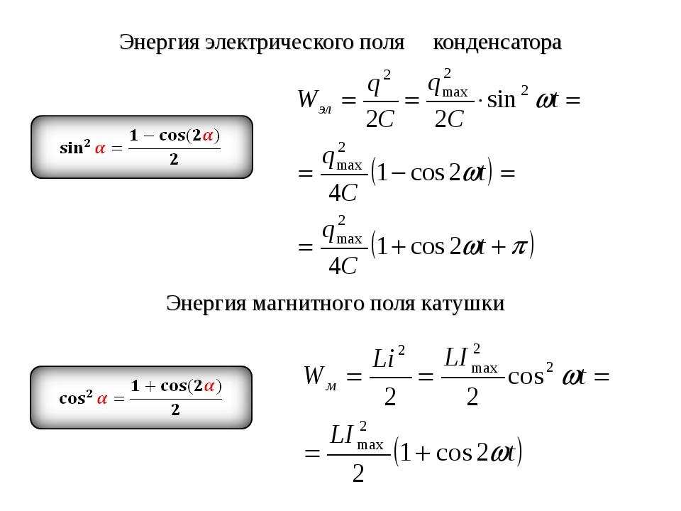 Энергия электрического поля конденсатора Энергия магнитного поля катушки