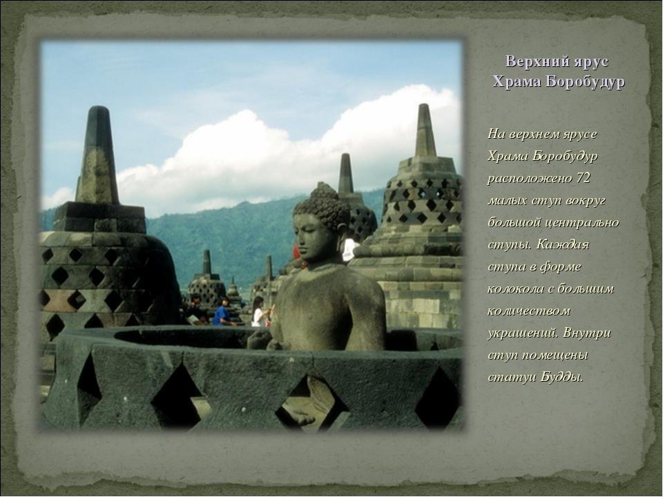 Верхний ярус Храма Боробудур На верхнем ярусе Храма Боробудур расположено 72...