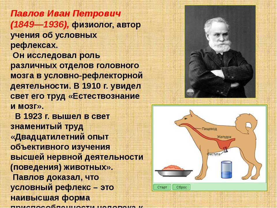 Павлов Иван Петрович (1849—1936), физиолог, автор учения об условных рефлекса...