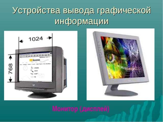 Устройства вывода графической информации Монитор (дисплей)