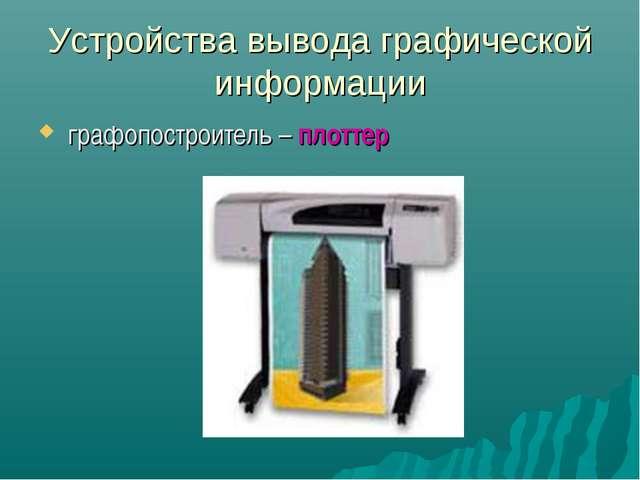 Устройства вывода графической информации графопостроитель – плоттер