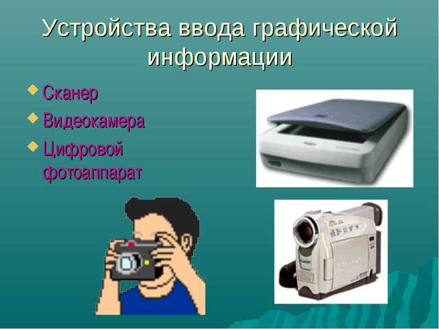 Устройства ввода графической информации Сканер Видеокамера Цифровой фотоаппарат