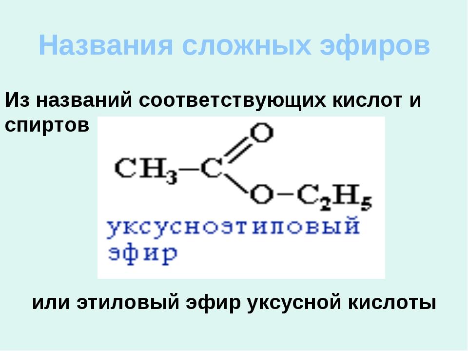 Названия сложных эфиров или этиловый эфир уксусной кислоты Из названий соотве...