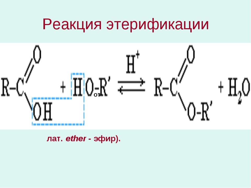 Реакция этерификации от лат. ether - эфир).