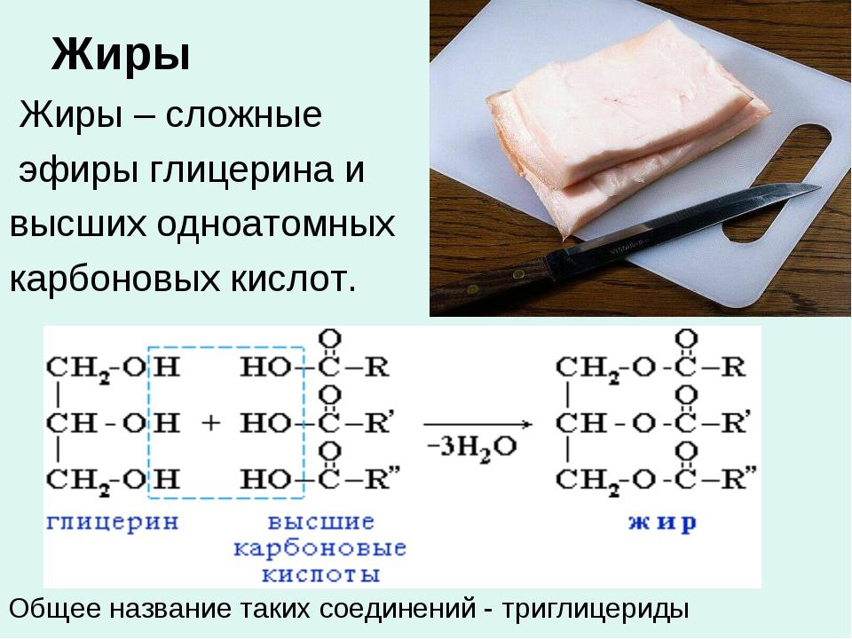 Жиры Жиры – сложные эфиры глицерина и высших одноатомных карбоновых кислот. О...