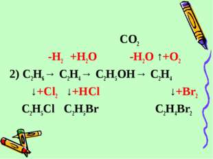 CO2 -H2 +H2O -H2O ↑+O2 2) C2H6→ C2H4→ C2H5OH→ C2H4 ↓+Cl2 ↓+HCl  ↓+Br2 C2H