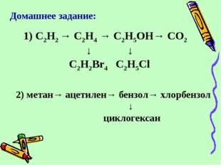 Домашнее задание: 1) C2H2 → C2H4 → C2H5OH→ CO2 ↓ ↓ C2H2Br4 C2H5Cl 2) метан→ а
