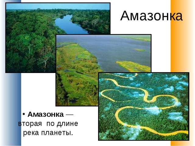 Амазонка Амазонка — вторая по длине река планеты.