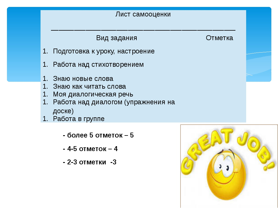 -более 5 отметок – 5 - 4-5 отметок – 4 - 2-3 отметки -3 Лист самооценки ____...