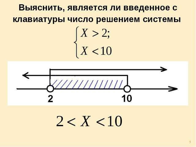Выяснить, является ли введенное с клавиатуры число решением системы *