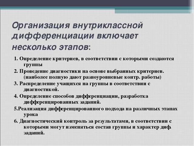 Организация внутриклассной дифференциации включает несколько этапов: 1. Опред...