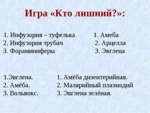 Игра «Кто лишний?»: 1. Инфузория – туфелька 1. Амеба 2. Инфузория трубач 2. А