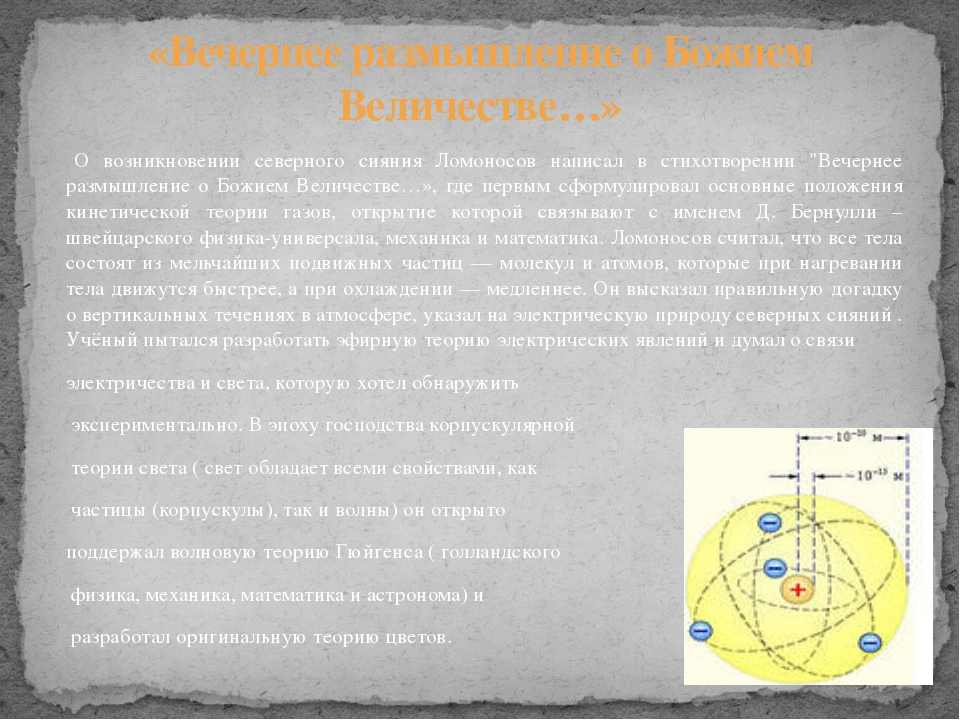 """О возникновении северного сияния Ломоносов написал в стихотворении """"Вечернее..."""