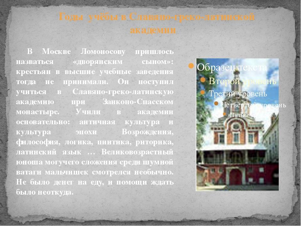 В Москве Ломоносову пришлось назваться «дворянским сыном»: крестьян в высшие...