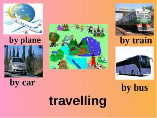 travelling by plane by car by train by bus