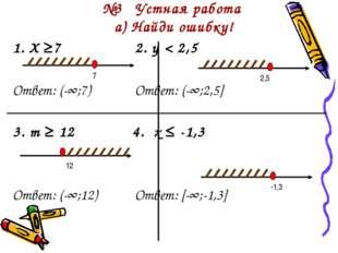 №3 Устная работа а) Найди ошибку! 1. Х ≥72. y < 2,5 Ответ: (-∞;7)Отве