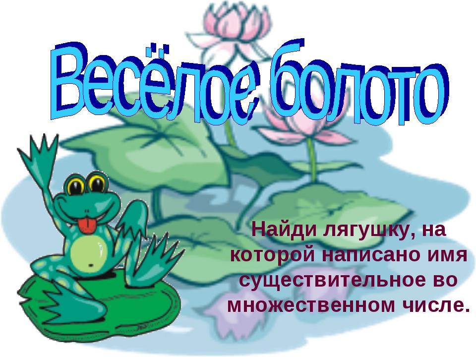 Найди лягушку, на которой написано имя существительное во множественном числе.