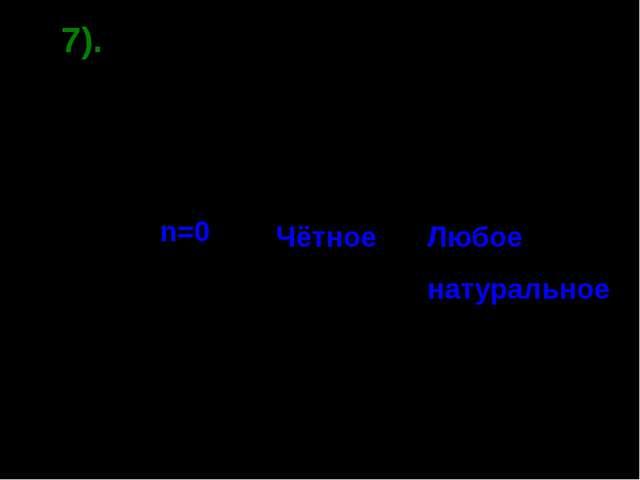 7). Вопрос. 0n = 0. при каком значении n ? При Любое натуральное n=0 Чётное