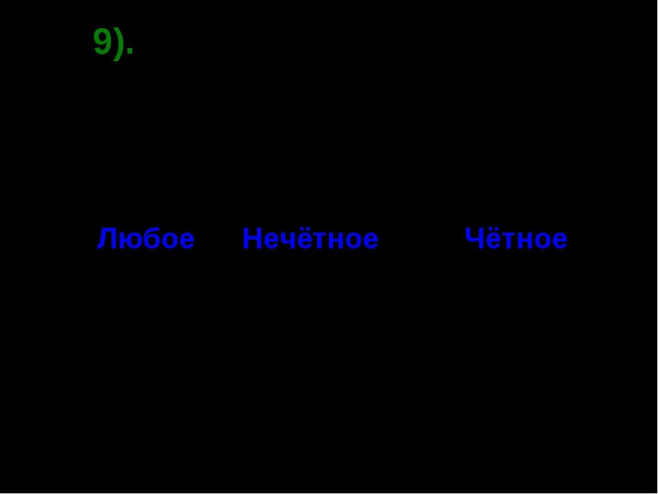 9). Вопрос. (-1)n = -1. при каком значении n ? если Нечётное Чётное Любое