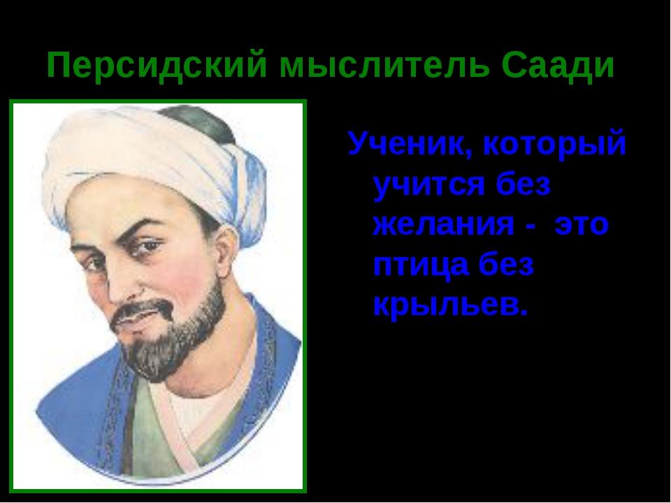 Персидский мыслитель Саади Ученик, который учится без желания - это птица без...