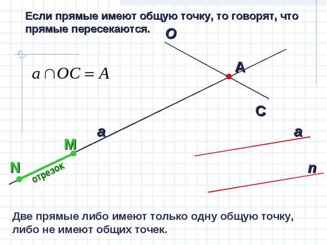 Если прямые имеют общую точку, то говорят, что прямые пересекаются. отрезок Д...